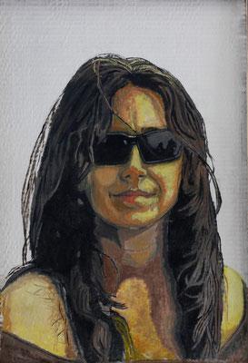 Autorretrato con gafas (óleo sobre cartón), 30 x 45