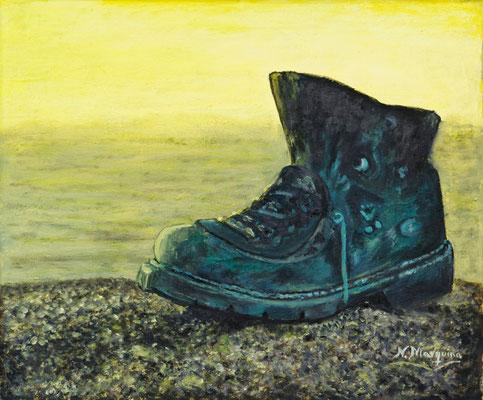 Bota del peregrino (óleo sobre lienzo), 57 x 50