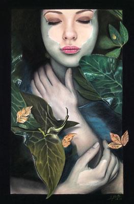 Meditación En El Estanque - Pastel - 70x50