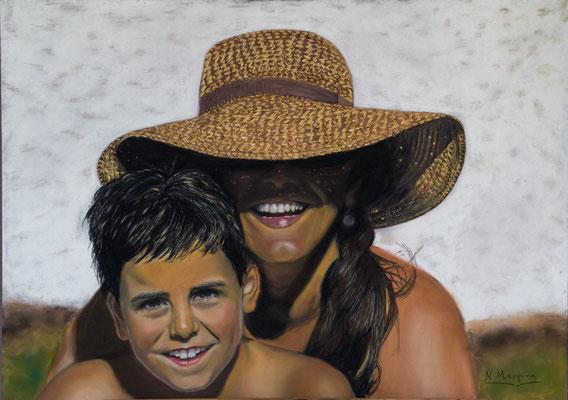 Miguel y yo (técnica mixta, pastel y óleo, sobre papel Canson), 70 x 50