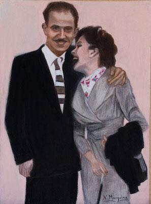 Carmen y Antonio (pastel sobre papel Canson), 20 x 30