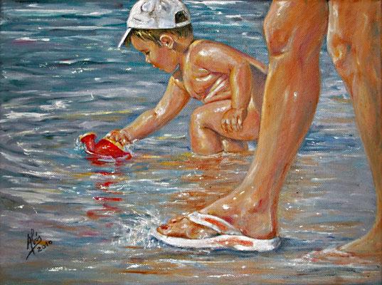 La regadera roja - Óleo sobre lienzo – 40 x 30