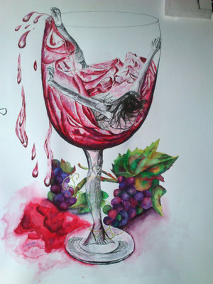 La danza del vino – tintas chinas/ plumilla y pincel/ papel Guarro – 50x61
