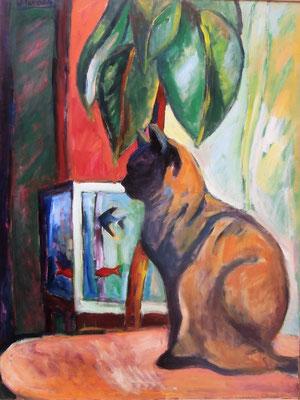 Gato con ficus – Acrílico – 97x130
