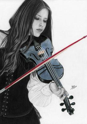 Dulce Melodía - Grafito y Lápices de colores - 30x40