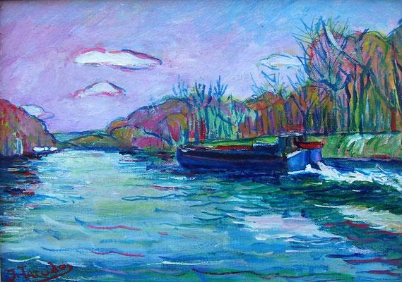 Barcaza en el río Oise– Acrílico – 22x16