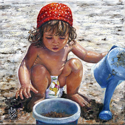 La regadera azul - Óleo sobre lienzo – 40 x 40