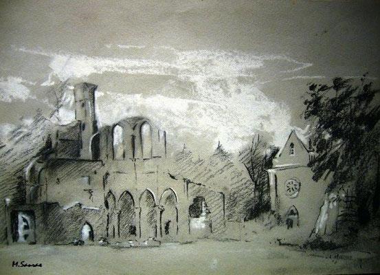 En la Abadía – Carbón y pastel s/papel