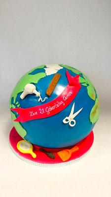 Geburtstagstorte Weltreise @ Renates Torten Design