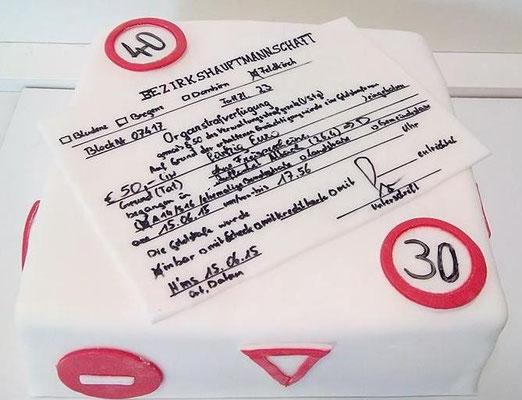Geburtstagstorte Strafzettel @ Renates Torten Design