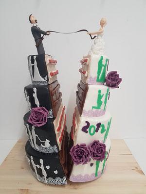 Moderne halbierte Hochzeitstorte Vorarlberg Renates Torten Design