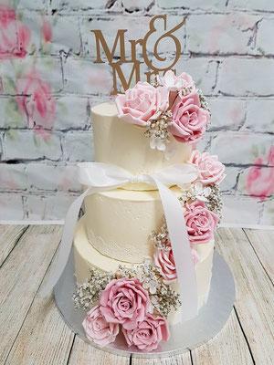 Weiße Hochzeitstorte Vorarlberg Renates Torten Design