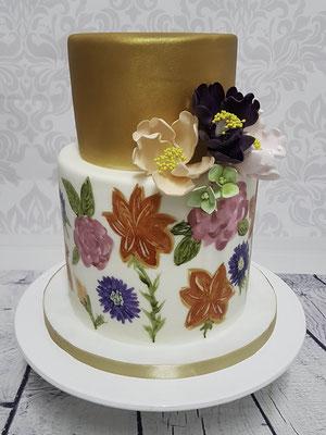 Hochzeitstorte mit gemalten Blüten, Renates Torten Design