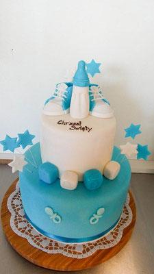 Tauftorte Junge Schuhe blau @ Renates Torten Design