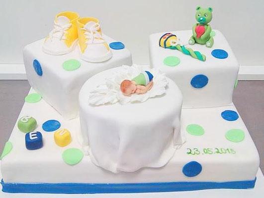 Tauftorte Junge grün Blau @ Renates Torten Design