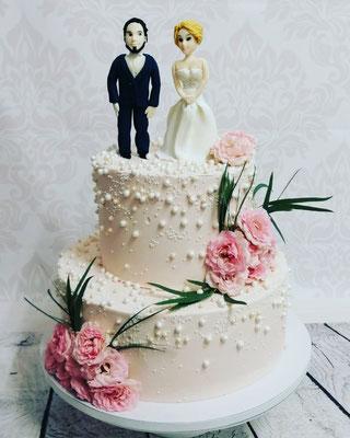Hochzeitstorte Cremetorte mit Perlen Renates Torten Design