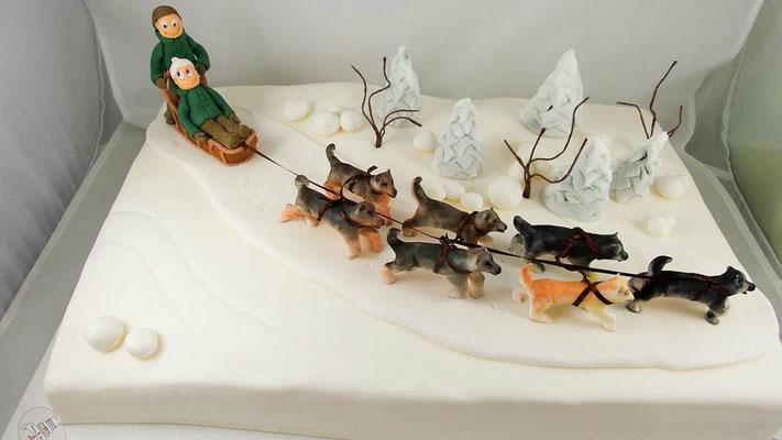 Schlittenhunde  Geburtstagstorte Renates Torten Design