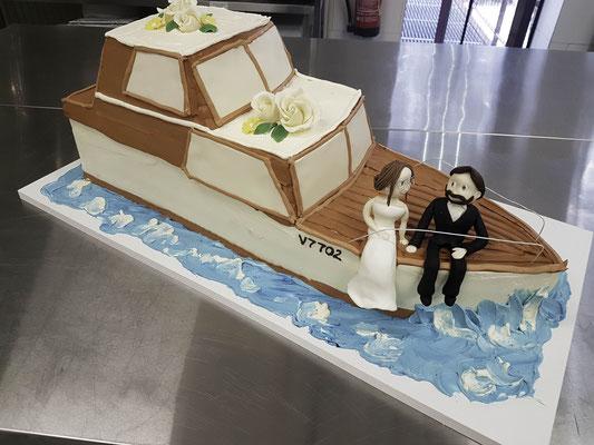 Hochzeitstorte Boot ohne Fondant