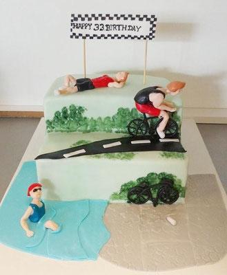 Geburtstagstorte Triathlon @ Renates Torten Design