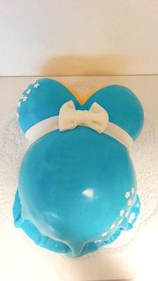 Babybauch Torte blau @ Renates Torten Design