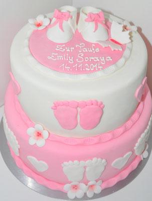 Tauftorte Mädchen rosa @ Renates Torten Design