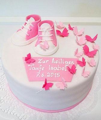 Tauftorte Mädchen rosa Schuhe @ Renates Torten Design