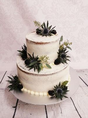 Hochzeitstorte Semi Naked Cake mit Disteln, Renates Torten Design