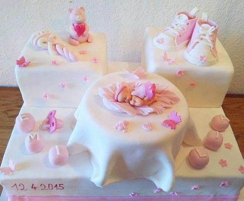 Tauftorte Bär rosa @ Renates Torten Design