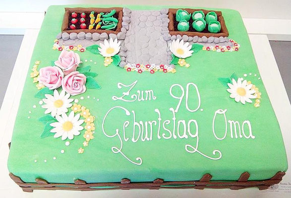 Geburtstagstorte Garten @ Renates Torten Design