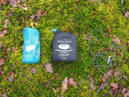 Amazonas Moskito-Traveller Extreme und Jungle Tent Pro Packmaß im Packsack