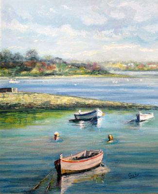 """""""Les barques au port du Logeo"""", Golfe du Morbihan"""" - Gaby DENYS (Soc. Art. Bretagne)"""