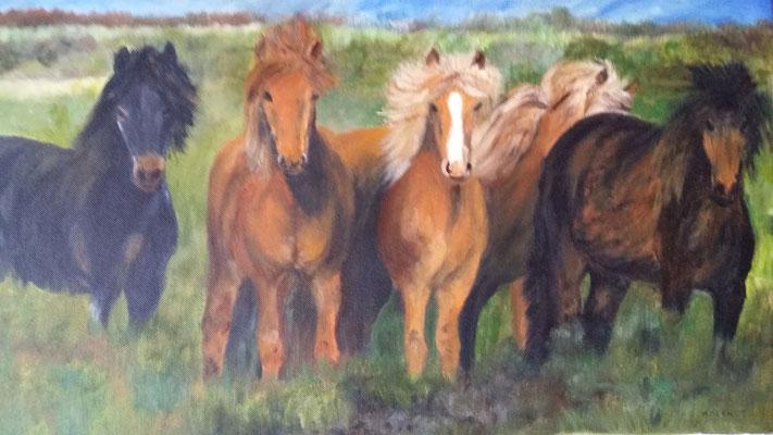 """""""Poneys islandais"""" - Micheline BLANOT WAWRZYNIAK (ARTISA Bourgogne)"""