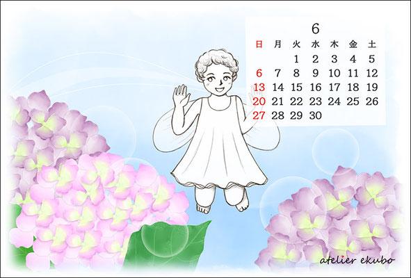 アトリエ絵くぼ 2021年卓上カレンダー6月