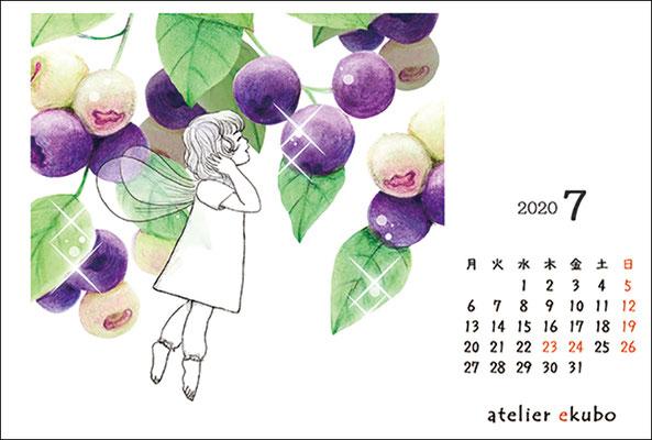 アトリエ絵くぼ 2020年卓上カレンダー7月