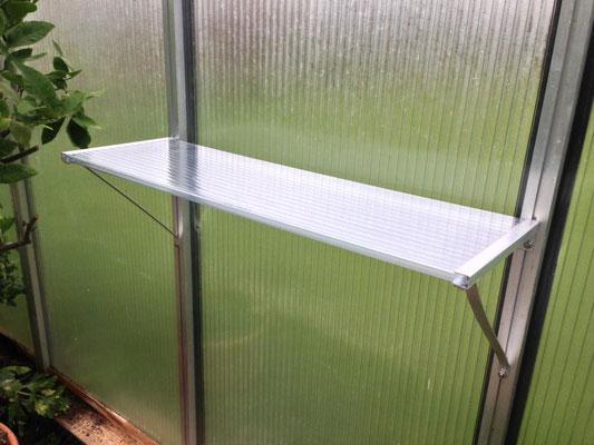 Gewächshausablagetisch, 75 x 25 cm, 12 mm Doppelstegplatten