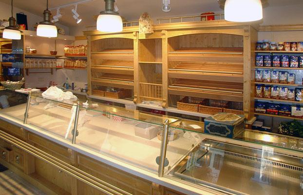 Theke/Verkaufsregal: Schichtstoff, Teilmassiv und Glas