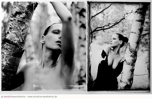Fotomodel wird im Wald bei Hannover erotisch in Dessous fotografiert