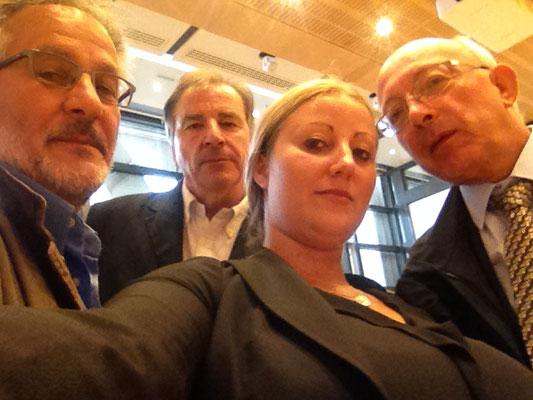 la délégation FO: Jean Boudeau, Jacques Cazor, Emilie Patteyn (CCRF-FO) et Didier Courtois (FO-Finances)