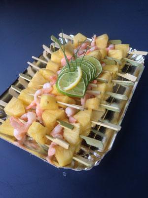 Brochettes Ananas Crevette Citron vert