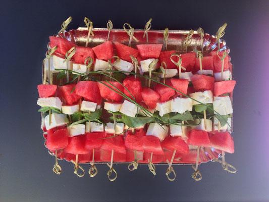 Brochettes Pastèque Fêta Basilic