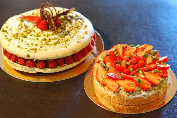 Macaron Pistache framboise et Montebello à la fraise