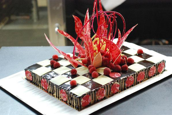 Damier au chocolat et framboise