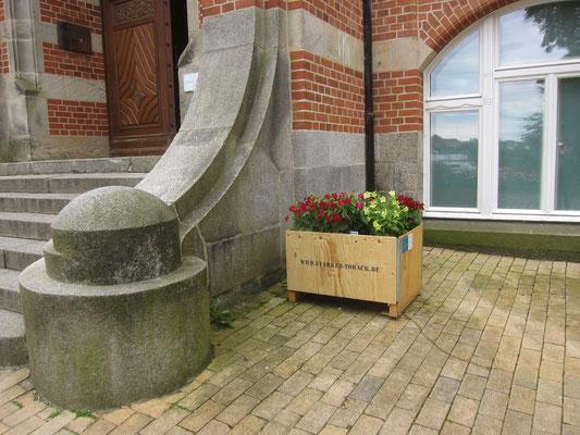 August 2020 – Die Pflanzkästen stehen vorm Eingang zum Naturwissenschaftlichen Museum auf dem Museumsberg.