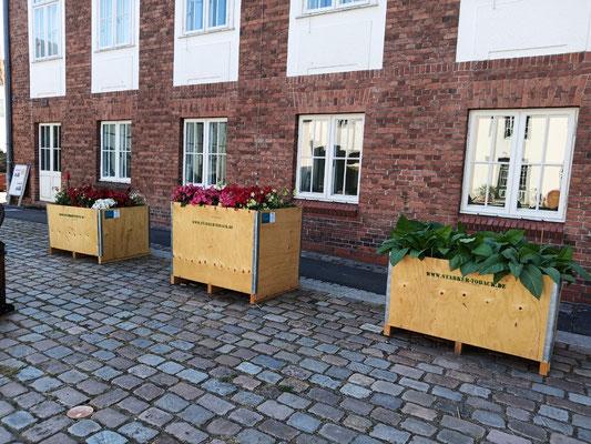 August 2020 – Die drei Pflanzkästen zieren im Schifffahrtsmuseum den Hof.
