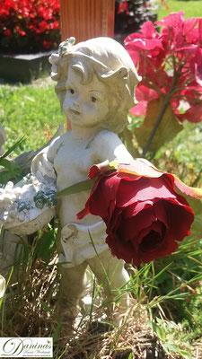 Grabdeko - Engel mit Rose