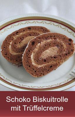 Schoko Biskuitrolle mit Trüffelcreme