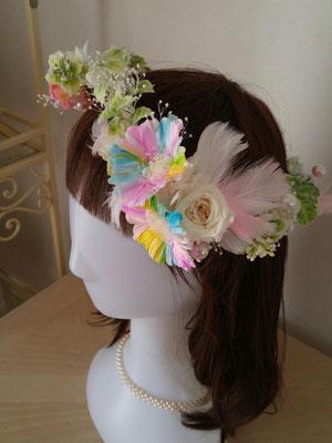 レインボーガーベラの花冠