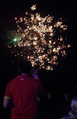 Feuerwerk zum Geburtstag eines Spielers