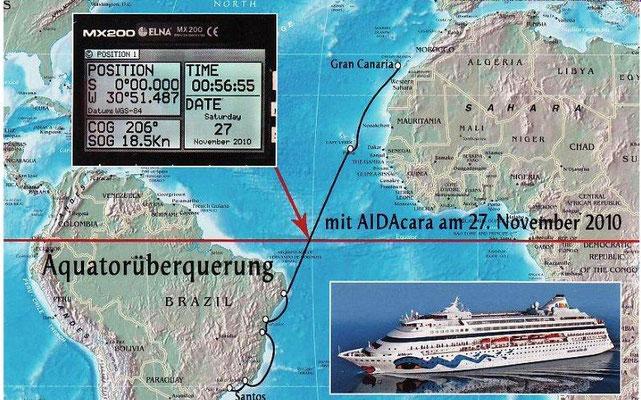 Am 27. November 2010 überqueren wir erstmalig den Äquator.