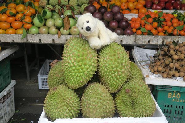 Ole in Vietnam auf Stinkfrüchten
